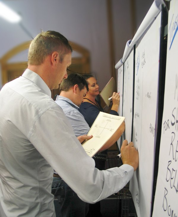 Participants plot the position of stakeholders during an Intensive 3-day Course in Project Management in Windhoek.