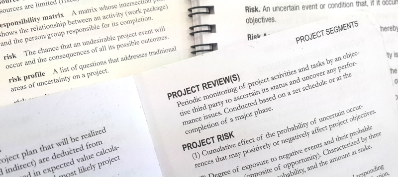 Definitions of risk and project risk from a variety of sources.