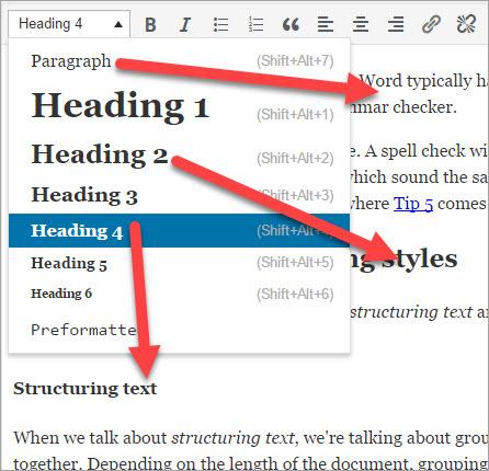 Using styles in Web editor