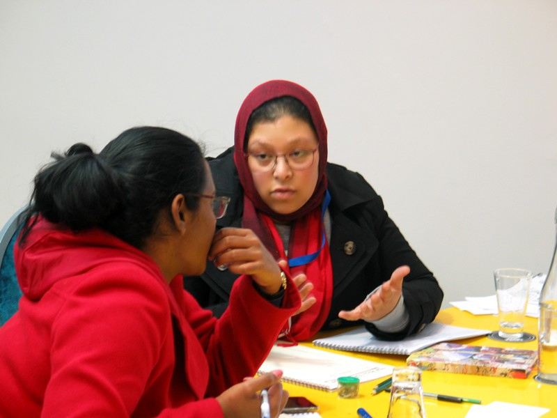 Shalena and Shahieda work on an HIV research project