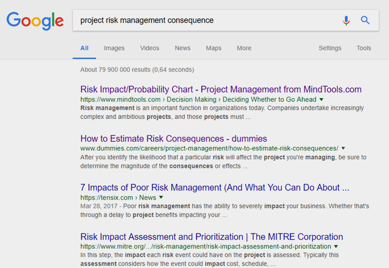 Project Management risk consequences - Google search results