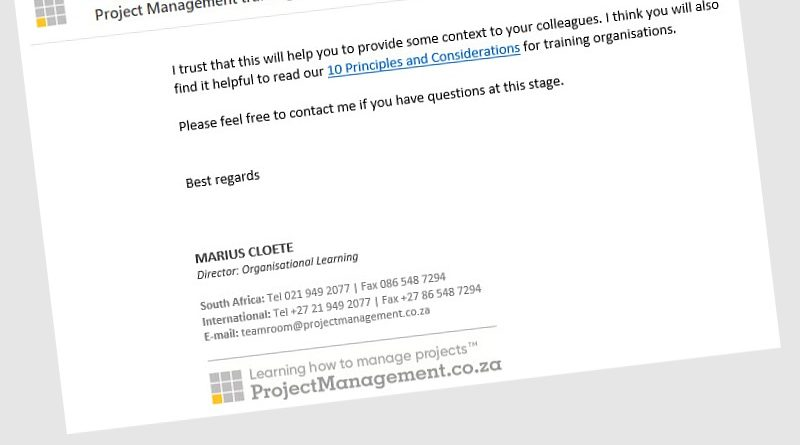 Letter about corporate training in Project Management